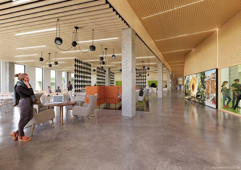 Havainnekuva Myllypuron kampuksen Stadin ammattiopiston rakennuksesta